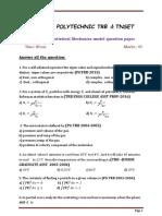 TRB Polytechnic Statistical Mechanics model question paper