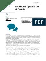 Communications Update on Universal Credit