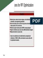 Preparations for RF Optimization
