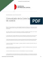 Comunicado de La Corte Suprema de Justicia