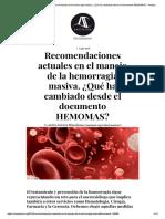 Recomendaciones Actuales en El Manejo de La Hemorragia Masiva. ¿Qué Ha Cambiado Desde El Documento HEMOMAS_ - AnestesiaR