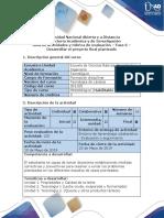 Guía de Actividades y Rubrica de Evaluación - Fase 6 - Desarrollar El Proyecto Final Planteado