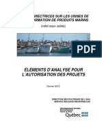 Ligne directrices des Usines Transform Prod Marins
