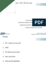Aula 8 - Anlise de Investimentos Parte 2 - UNIFEI