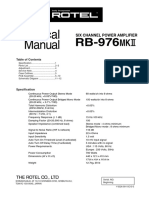 Rotel RB-976 Mk2 Service Manual