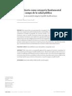 Borde y Tovar. El Territorio Como Categoria Fundamental Para El Campo de La Salud Publica