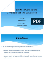 Role of Faculty in Curriculum