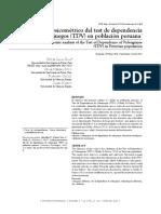 Análisis psicométrico del test de dependencia de videojuegos (TDV) en población peruana