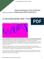 LA RELACIÓN ENTRE ARTE Y POLÍTICA (I) _ ARCO Bloggers