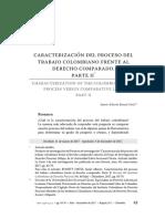 Caracterización del proceso del trabajo colombiano frente al derecho comparado