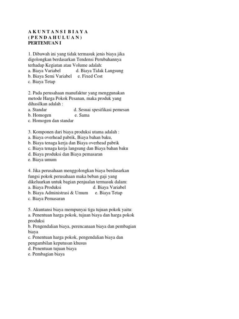 Latihan Soal Pilihan Ganda Ak Biaya P1 P6 Copy Docx