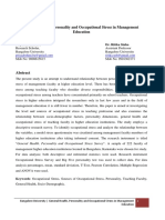 General Health Personality and Occupational Stress in Management Education.docx