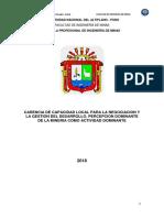 CARENCIA DE CAPACIDAD LOCAL PARA LA NEGOCIACION Y LA GESTION DEL DESARROLLO, PERCEPCION DOMINANTE DE LA MINERIA COMO ACTIVIDAD DOMINANTE.docx