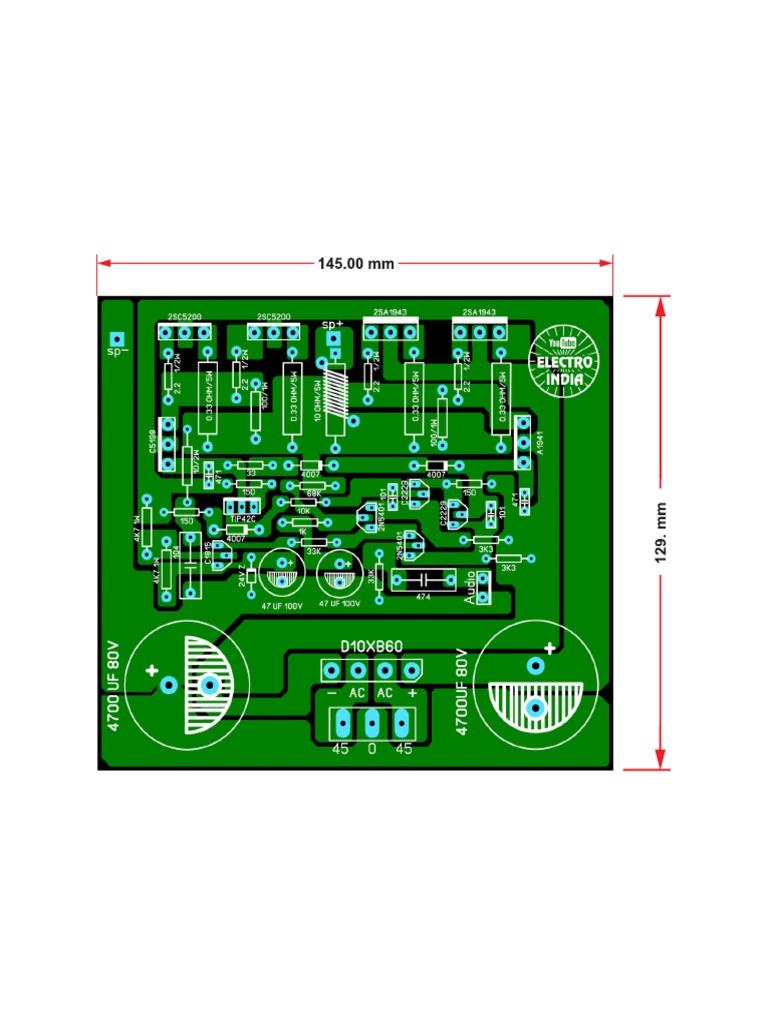 200 Watts Mono Audio Amplifier Board DIY 2SC5200+2SA1943 Transistor