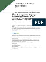 Osp 462-34-2 Effets de La Reputation Du Groupe Scolaire d Appartenance Et Des Facteurs de Vulnerabilite Personnelle Sur l Optimisme Comparatif