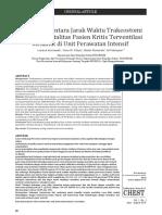Hubungan Antara Jarak Waktu Trakeostomi Dengan Mortalitas Pasien Kritis Terventilasi Mekanik Di Unit Perawatan Intensif