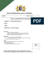 Trial Paper 1 2019