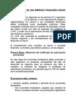 Constitucion de Una Empresa Financiera
