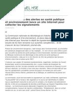 Actuel Hse - La Commission Des Alertes en Sante Publique Et Environnement
