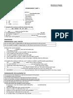 2 Ingles English Reinforcement Worksheet Unit One