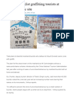 homework  5 17   tibet to blacklist graffitiing tourist at everest scenic site  article