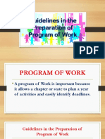 Guidelines in the Preparation of Program of Work