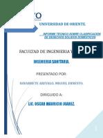 Informe Técnico Sobre Desechos Sólidos Domésticos
