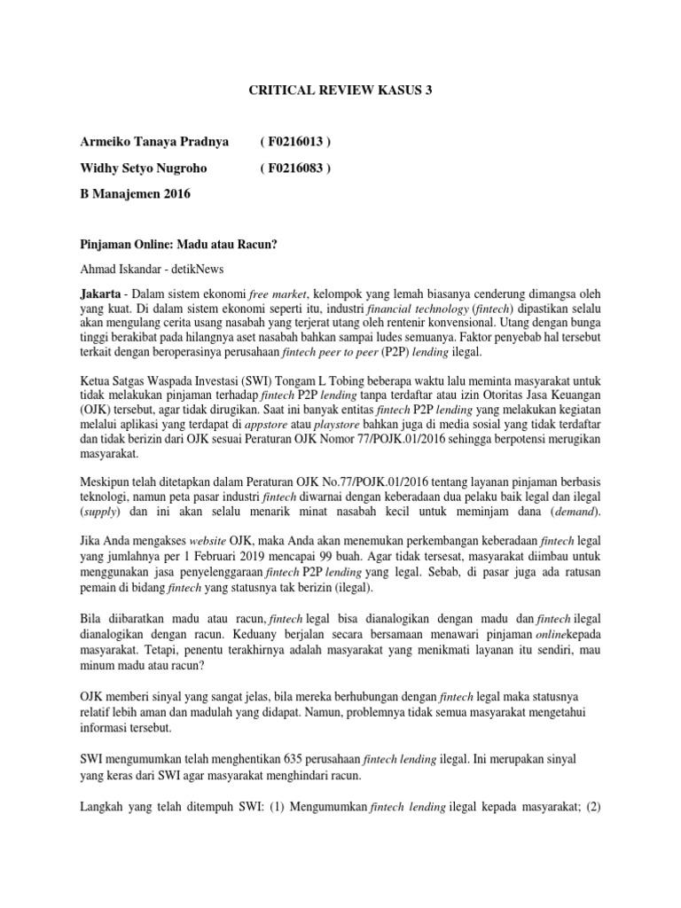 Critical Review Pinjaman Online Aikv Docx