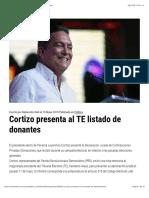 Cortizo Presenta Al TE Listado de Donantes - Metro Libre