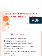 Literary Translation as a Form of Communication