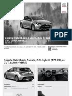 Corolla Hatchback, 5 Vrata, 2.0L Hybrid (178 KS), E-CVT, LUNA HYBRID