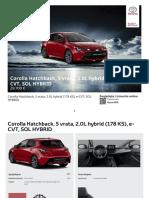 Corolla Hatchback, 5 Vrata, 2.0L Hybrid (178 KS), E-CVT, SOL HYBRID