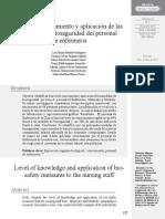 Nivel de conocimiento y aplicación de las medidas de bioseguridad del personal de enfermeria