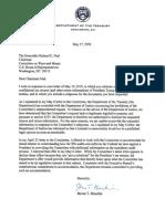 Secretary Mnuchin letter
