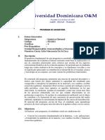 Programa O&M química general