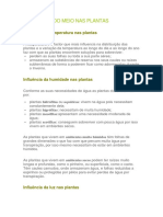 INFLUÊNCIA DO MEIO NAS PLANTAS Ciencias 5º Ano