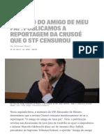 Publicamos a reportagem da Crusoé que o STF censurou