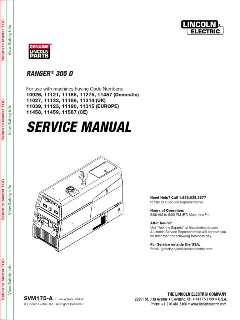 LINCOL305D MANUAL DE SERVICIO.pdf   Welding   Electromagnetic CompatibilityScribd