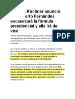 Cristina Kirchner  Anouncement