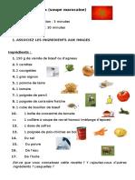 Recette de Harira Activites Ludiques Dictionnaire Visuel Dynamique e 91038
