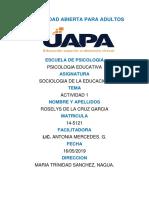 Tarea 1 de Sociologia de La Educacion