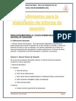 Procedimientos Para La Elaboración de Informe de Tasación