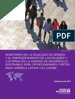 ONU Mujeres Monitoreo de La Igualdad de Genero y Agenda de Desarrollo 20