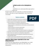 Aportes a Seguridad Social en Los Trabajadores Independiente1