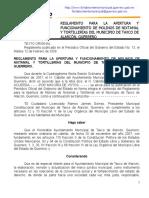 REGLAMENTO PARA LA APERTURA Y FUNCIONAMIENTO DE MOLINOS DE NIXTAMAL Y TORTILLERÍAS DEL MUNICIPIO DE TAXCO DE ALARCÓN, GUERRERO