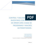 Control y Seguimiento de Inventario Con Margen de Error Cero a Base de Programas y Macros Automatizados