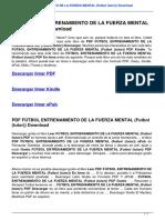 Futbol Entrenamiento de La Fuerza Mental Futbol Tutor 8479028653