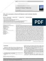 Life Cycle Assessment of Lead Acid Batteries Used in Electric Bicycles