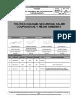 SIG-P°-01 POLITÍCA INTEGRADA Rev 02