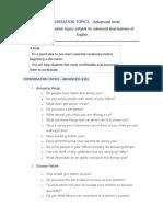 Conversation Topics- Advanced